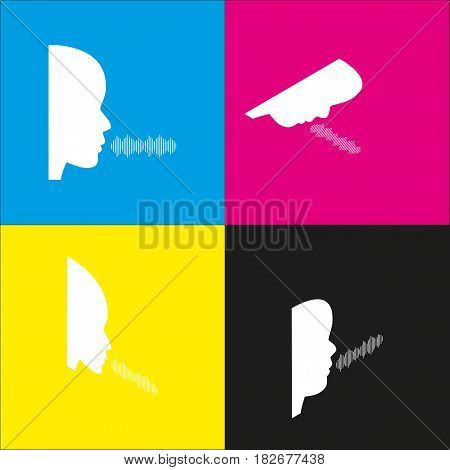 People speaking or singing sign. Vector. White icon with isometric projections on cyan, magenta, yellow and black backgrounds.
