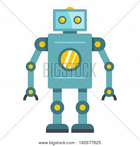 Blue retro robot icon flat isolated on white background vector illustration