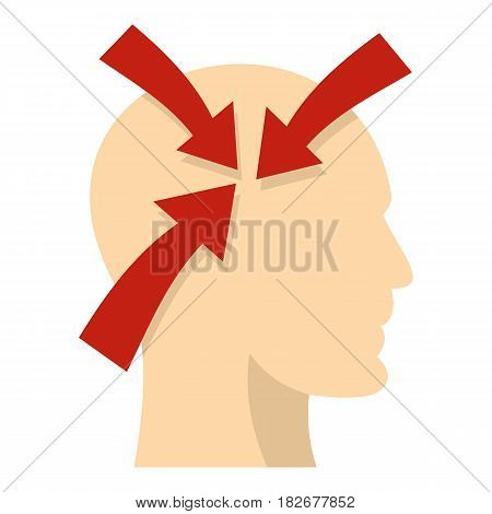 Profile of the head with red arrows inside icon flat isolated on white background vector illustration