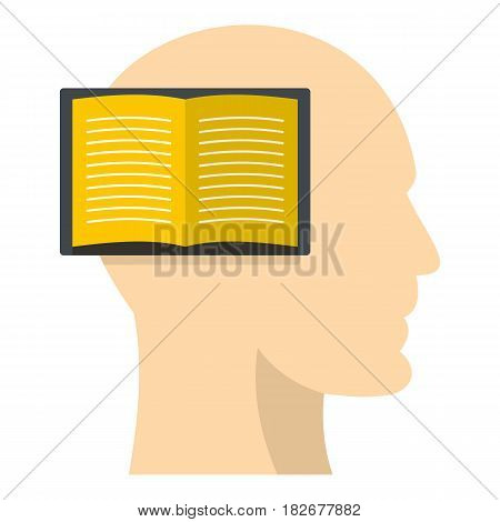 Open book inside a man head icon flat isolated on white background vector illustration