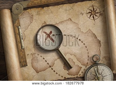 vintage nautical compass and loupe on table with old treasure map scroll 3d illustration