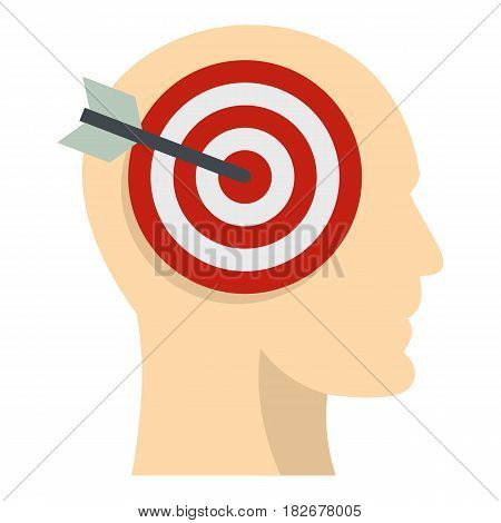 Target goal in human head icon flat isolated on white background vector illustration