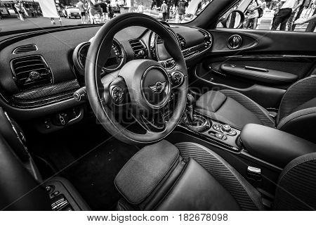 BERLIN - JUNE 05 2016: Interior of a city car Mini Cooper S Convertible. Black and white. Classic Days Berlin 2016.