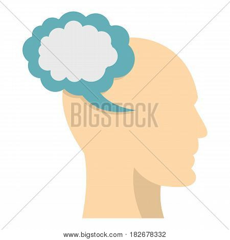 Profile of the head with cloud inside icon flat isolated on white background vector illustration