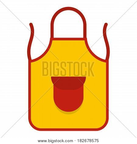 Yellow apron with red pocket icon flat isolated on white background vector illustration