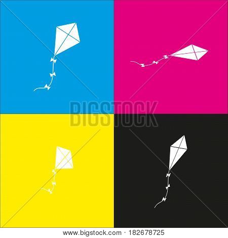 Kite sign. Vector. White icon with isometric projections on cyan, magenta, yellow and black backgrounds.