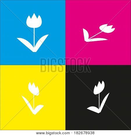 Tulip sign. Vector. White icon with isometric projections on cyan, magenta, yellow and black backgrounds.
