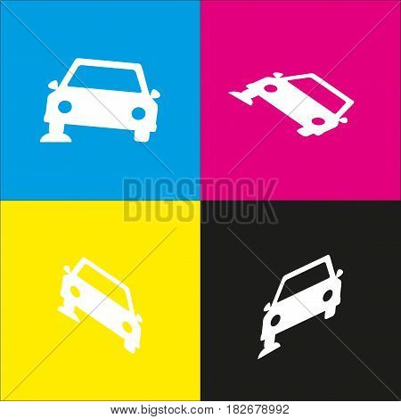 Car parking sign. Vector. White icon with isometric projections on cyan, magenta, yellow and black backgrounds.