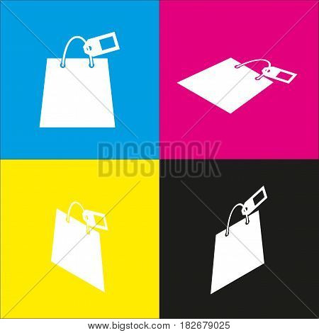 Shopping bag sign with tag. Vector. White icon with isometric projections on cyan, magenta, yellow and black backgrounds.
