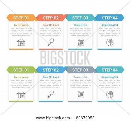 Infographic template with four steps or options, vector eps10 illustration