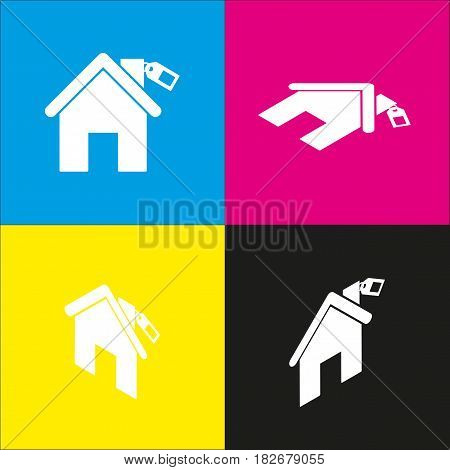 Home silhouette with tag. Vector. White icon with isometric projections on cyan, magenta, yellow and black backgrounds.
