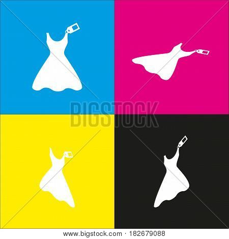 Woman dress sign with tag. Vector. White icon with isometric projections on cyan, magenta, yellow and black backgrounds.