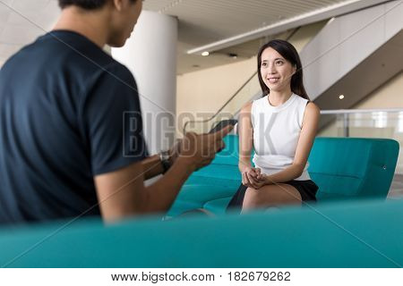 Woman talk to the man with cellphone