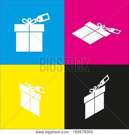 Gift sign with tag. Vector. White icon with isometric projections on cyan, magenta, yellow and black backgrounds.