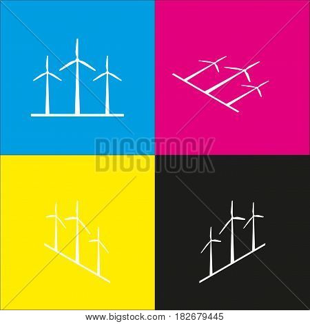 Wind turbines sign. Vector. White icon with isometric projections on cyan, magenta, yellow and black backgrounds.