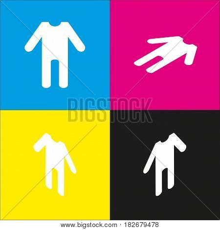baby clothes sign. Vector. White icon with isometric projections on cyan, magenta, yellow and black backgrounds.