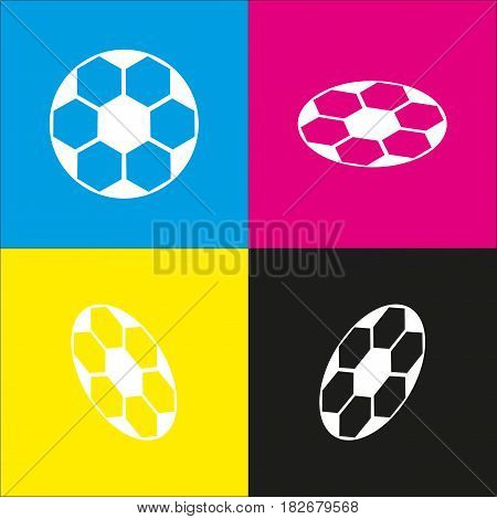 Soccer ball sign. Vector. White icon with isometric projections on cyan, magenta, yellow and black backgrounds.