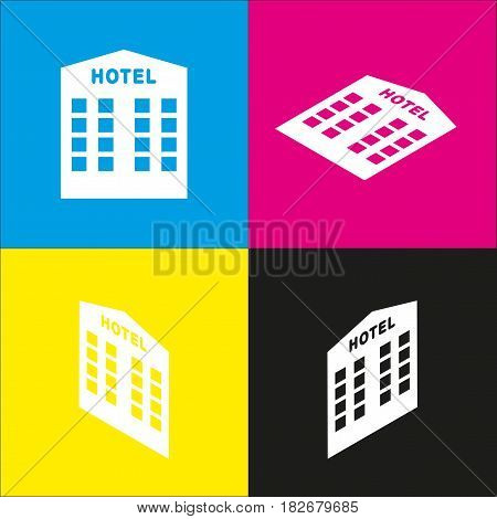 Hotel sign. Vector. White icon with isometric projections on cyan, magenta, yellow and black backgrounds.