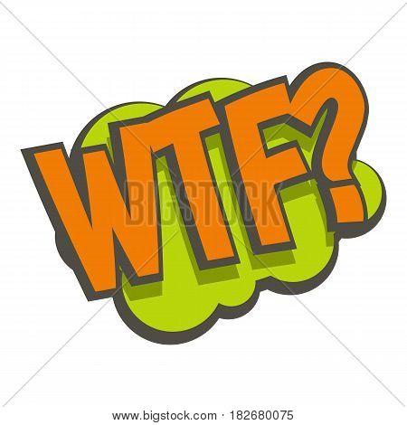 WTF, comic text sound effect icon flat isolated on white background vector illustration