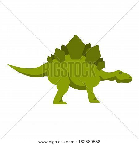Green stegosaurus dinosaur icon flat isolated on white background vector illustration