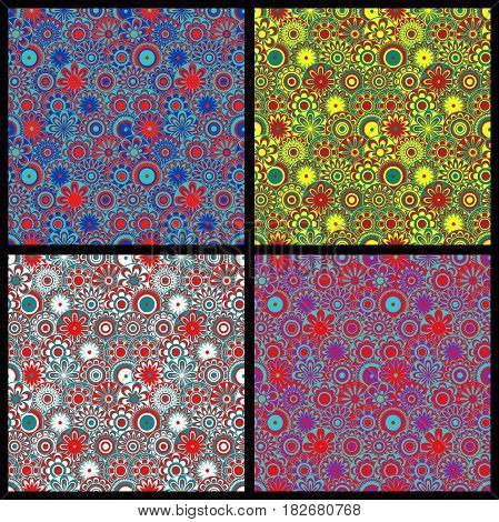 Four seamless floral colorful motley same backgrounds with flower fill of various color triads vector illustrations as a fabric texture