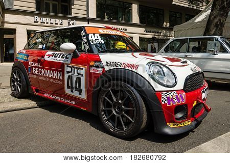 BERLIN - JUNE 05 2016: Sports version of car Mini Cooper S - Mini JCW Challenge R56. DTC Series. Classic Days Berlin 2016.