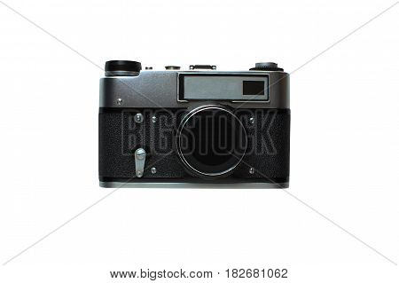 Old rangefinder film camera are , Isolated on a white background, memory of the past