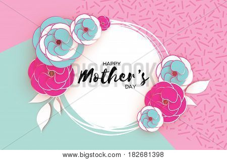 Happy Mother's Day. Pink Blue Floral Greeting card. Paper cut Flower, leaves. Blue pink holiday background. Circle Frame. Space for text. Women's Day. Origami Beautiful Bouquet. Vector illustration