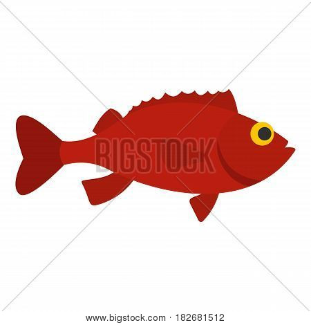 Red betta fish icon flat isolated on white background vector illustration
