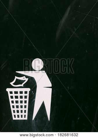A Black And White Bin Sign With Texture Scratches And Dents And Marks And Fade, Interesting Symbol O