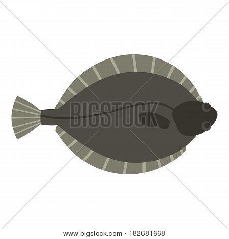 Flounder fish icon flat isolated on white background vector illustration