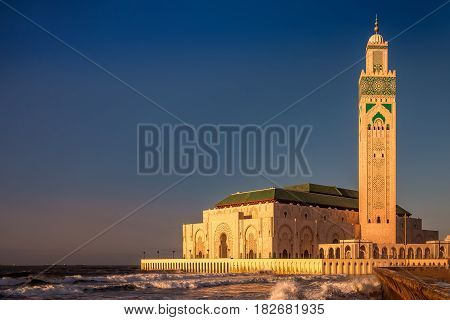The Hassan II Mosque is largest mosque in Morocco. Shot after sunset at blue hour in Casablanca.