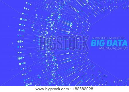 Big data circular blue visualization. Futuristic infographic. Information aesthetic design. Visual data complexity. Complex data threads graphic visualization. Social network. Abstract data graph