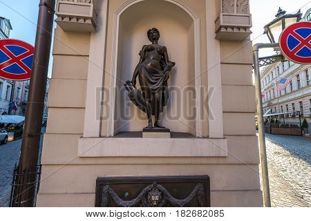 Small scultpure on crossraod of Pils and Miesnieku streets in Riga city Latvia