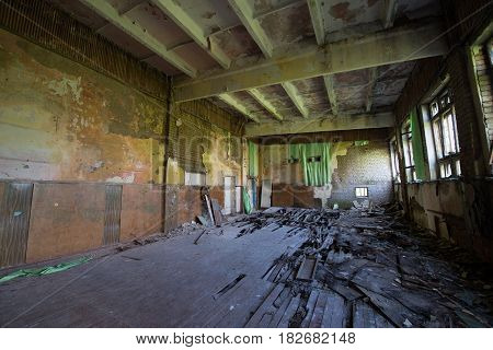 Gym hall of Soldiers Club in abandoned former Soviet military town Skrunda in Latvia