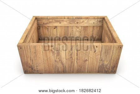 Wooden crate isolated on white. 3d rendering