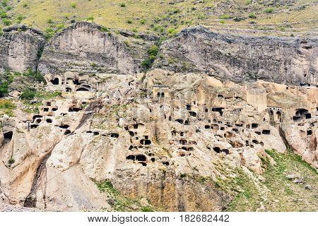 View Of Vardzia Cave Monastery. Georgia