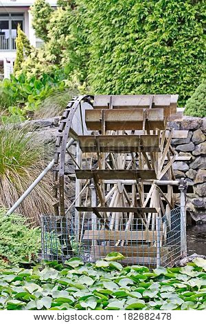 Undershot wooden waterwheel with creek flowing into Lilly pond
