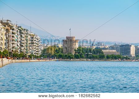 The harbor seafront and White Tower in Thessaloniki. Macedonia Greece