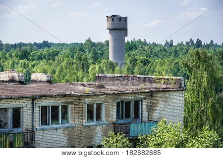 Old water tower in abandoned former Soviet military town Skrunda in Latvia