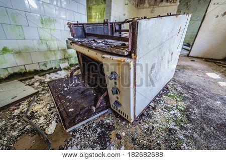 Old oven in kitchen of preschool in former Soviet military town Skrunda-1 in Latvia