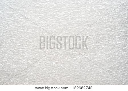 white foam plastic close up background texture