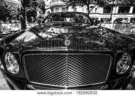 BERLIN - JUNE 05 2016: Fragment of a full-size luxury car Bentley Mulsanne. Black and white. Classic Days Berlin 2016.