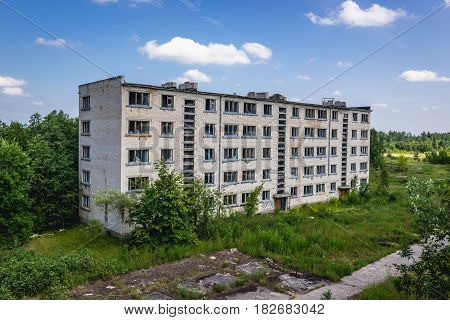 Residential building in Skrunda ghost town former USSR military base in Lativa