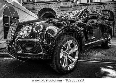 BERLIN - JUNE 05 2016: Ultra luxury crossover SUV Bentley Bentayga 2016. Black and white. Classic Days Berlin 2016.