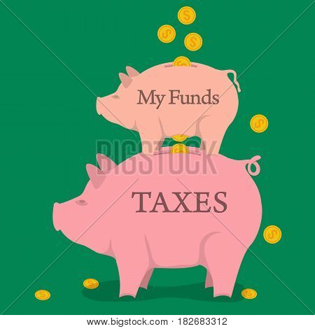 Vector concept of taxes pay, saving money, accounting services. Two money pigs with coins - funds and taxes in flat style. Isolated on green background