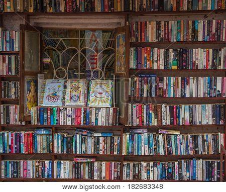 Goa, India - March 1: Bookshelves On Street Market In Arambol On March 1, 2017, Goa, India