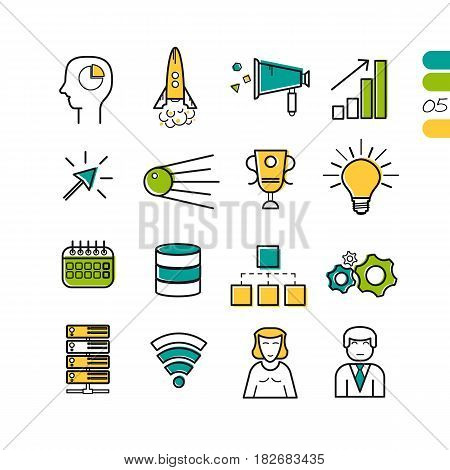 Vector set of SEO and startup colored linear icons. Success rocket, scheme, man and woman user, server disk and gear wheels. The fifth series of symbols