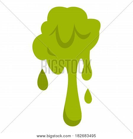 Green slime spot icon flat isolated on white background vector illustration