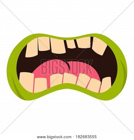 Open zombie mouth icon flat isolated on white background vector illustration